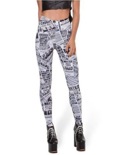 Woman Slim legging Newspaper printed legging S-4XL Plus Size legging 3184