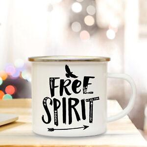 Emaille Tasse Becher Camping Tasse Kaffeebecher Vogel Spruch Free Spirit Eb54 Klar Und GroßArtig In Der Art Geschenk- & Werbeartikel