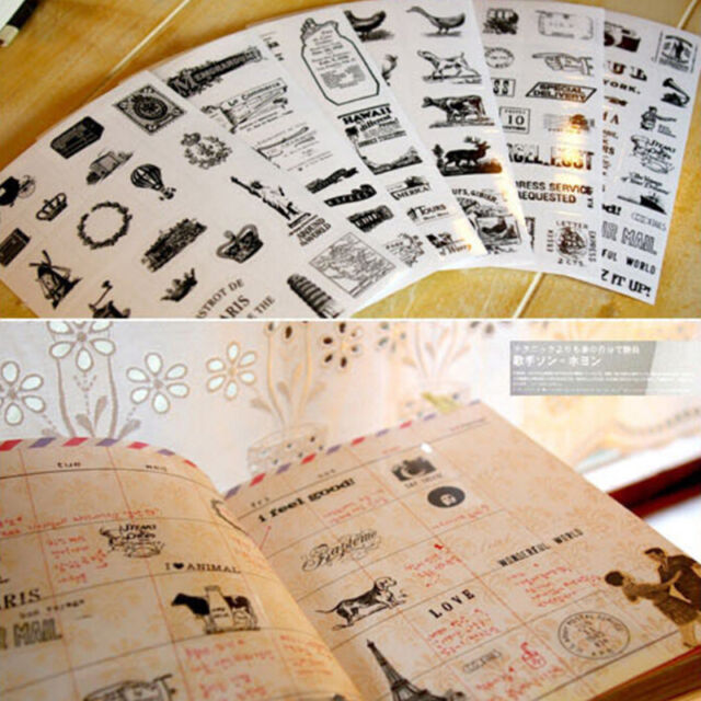 6Pcs Cute Diary Decoration Scrapbooking Transparent Stationery Planner Stickers