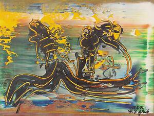""""""" Composition Abstraite Longueur 4 """" Acrylique / Lwd.. Sign. / Dat. Franz J."""