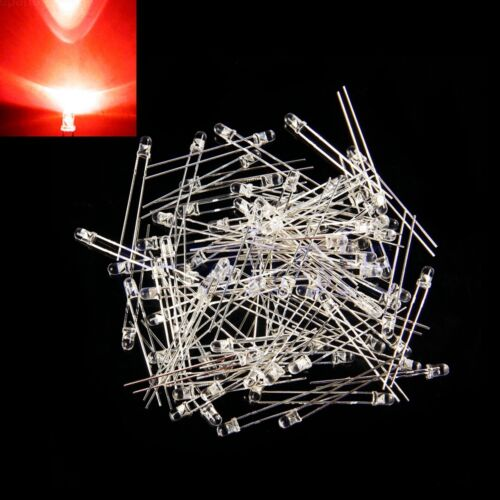 100pcs Super bright LEDs red 3mm  water clear Lens Round Top HM
