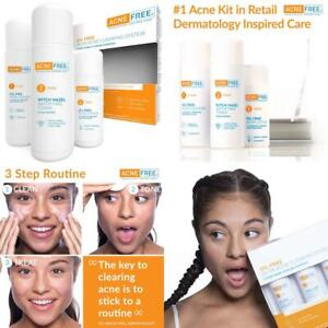Acnefree 3 Step 24 Hour Acne Treatment Kit Clearing System W Oil