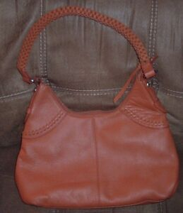 RARE Coldwater Creek Orange RUST Leather Hobo Shoulder Purse Braided ... 85b8089a16281