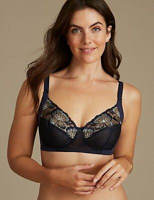 NEW MARKS /& SPENCER M/&S EMBROIDERED NON-PADDED FULL CUP IVORY BRA 32 C D DD *