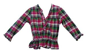 Baby-Girls-Primark-Pink-Green-Check-Long-Sleeve-Shirt-Blouse-Age-12-18-Months