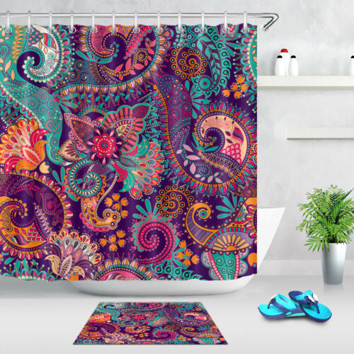 Artistic Paisley Floral Pattern Polyester Waterproof Fabric Shower Curtain Liner