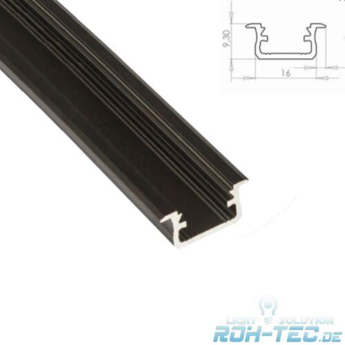 """1m schwarzes ALU-Profil//Leiste /""""B-FUGE/"""" für LED Streifen mit Abdeckung KLAR"""