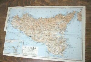 Cartina Sicilia Antica.Stampa Antica Mappa Pianta Sicilia Isole Di Lipari Eolie Salina Vulcano Panaria Ebay
