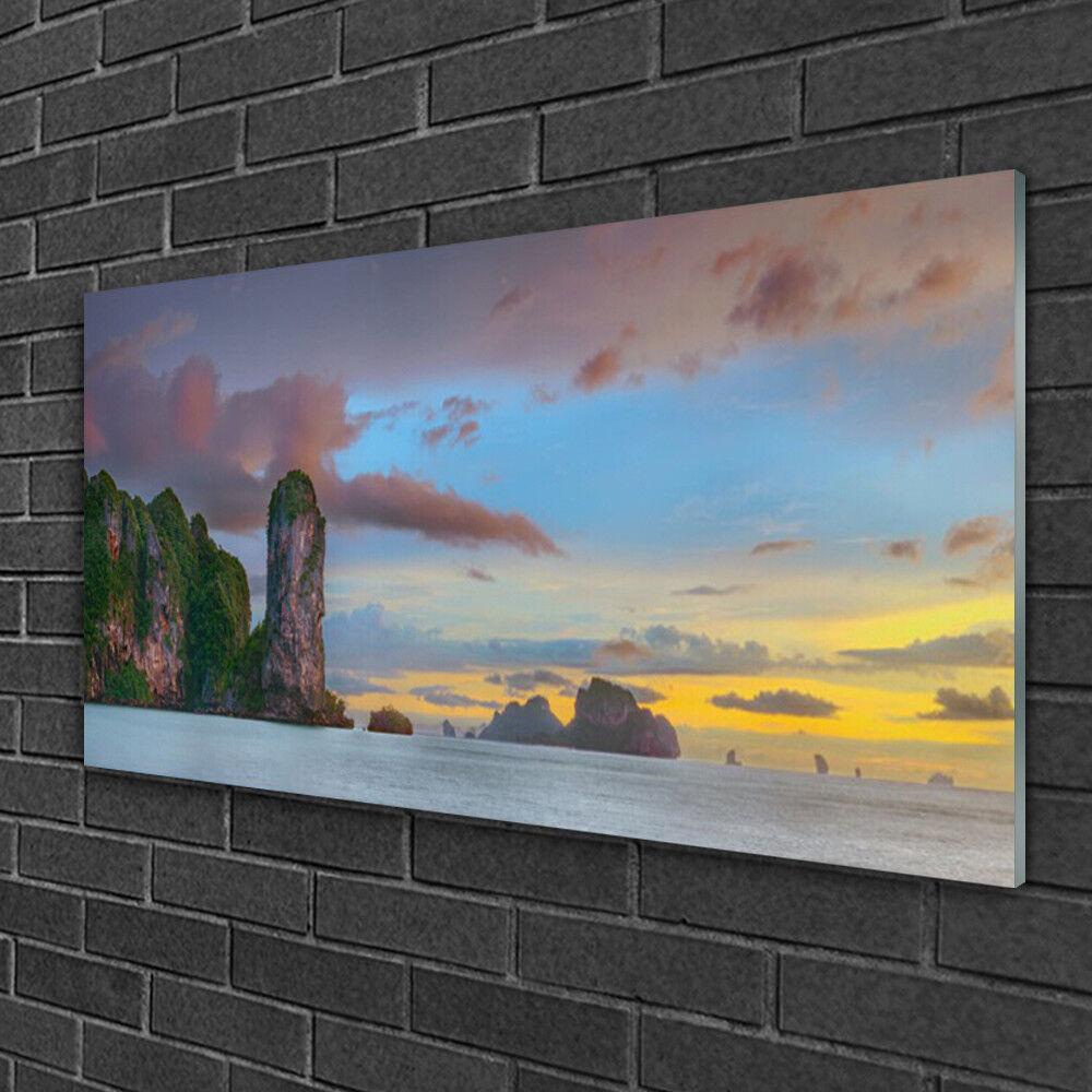 Image sur verre Tableau Impression 100x50 Paysage Montagnes Mer