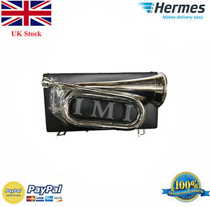 New-Professional-Army-Bb-Bugle-Silver-Plated-Tune-able-Military-Free-carry-case