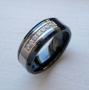 Mens Black Ceramic And Tungsten Spinning Ring