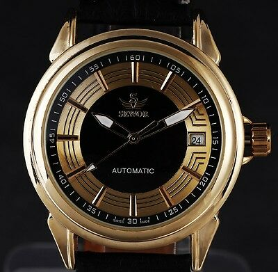 Classic Black Gold Date Dial Luxury Dress Mens Skeleton Mechanical Wrist Watch