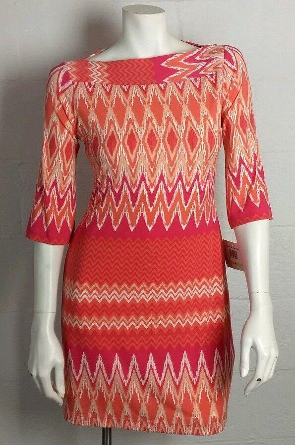 NWOT Ladies women Morgan orange & Pink Chevron Shift Dress Size 4