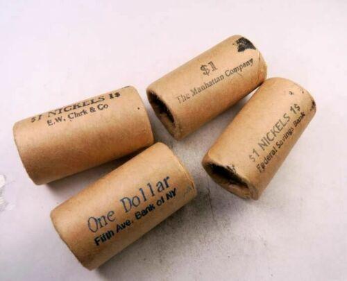 Old Sealed Buffalo Nickel Half Roll Lot //// 4 Different Bank Rolls 4