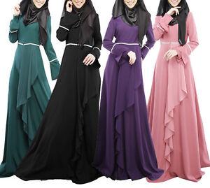 AUTUMN Abaya le donne musulmane Manica Lunga Maxi Abito islamico Jilbab LADY ROBE Caftano