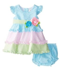 Rare Editions Mint Ballerina Rosebud Dress and Bloomer Two Piece Set