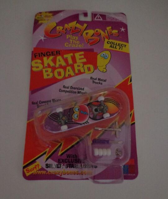 1999 Crazy Bones '99 Finger Skate Board Silver Stabilizers Speedy Toy Craze