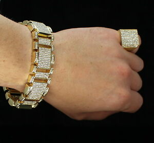 Mens-2pc-Bracelet-Ring-Iced-Set-14k-Gold-Plated-Hip-Hop-Jewelry