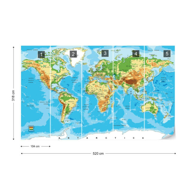 Photo Wallpaper Mural Non-woven 10947/_VE Map Map World Continent Vintage Globe S