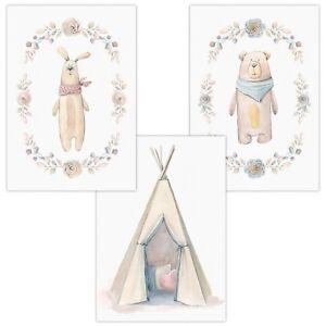 3er-Set-Wandbilder-Baby-Kinderzimmer-Deko-DIN-A4-Poster-W16-Hase-Tipi-Baer