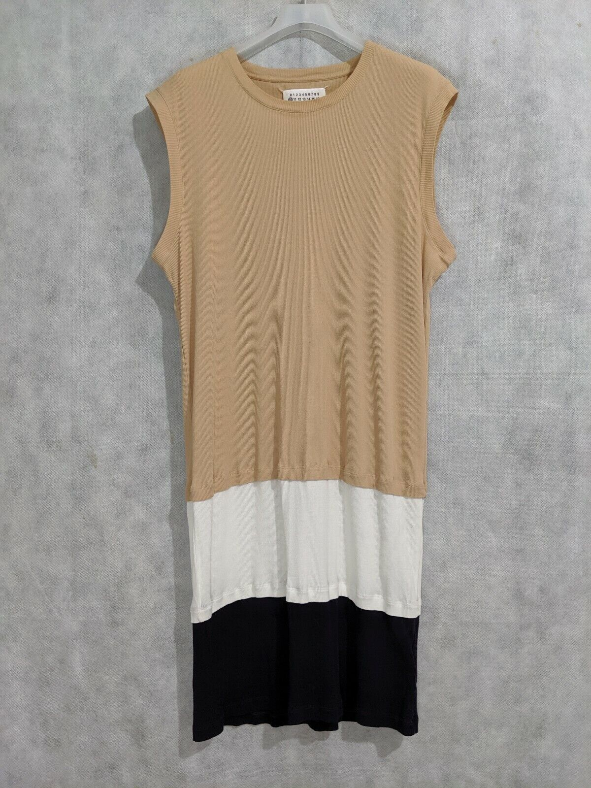 Margiela 10 Ribbed Stretch Farbeblock Extended Sleeveless hemd Dress 52