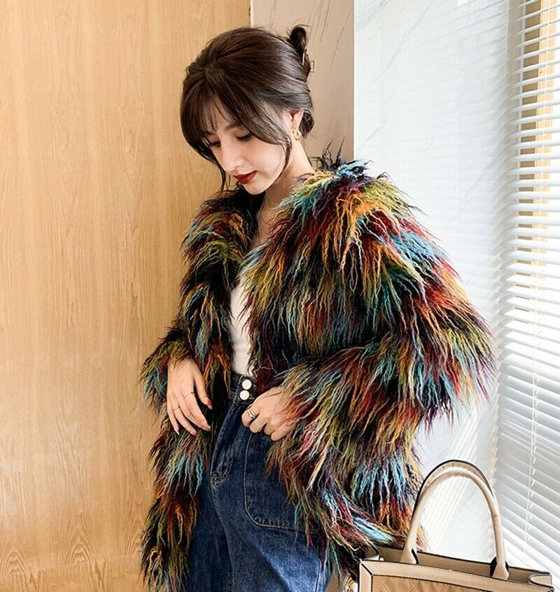 Womens Winter Multicolor Faux Sheep Fur Loose Fit Thick Jackets Coat Overcoats