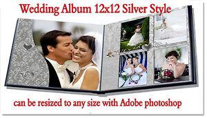 photoshop wedding digital photo book templates psd 12x12 silver ebay