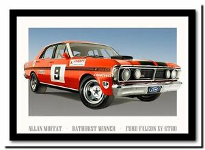 QUALITY-CANVAS-ART-PRINT-Ford-falcon-XY-GTHO-Moffat-Racing-car-A4-poster