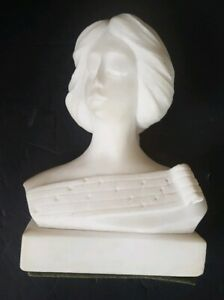 Vintage Hand Carved Marble Bust Woman Composer Sheet Music