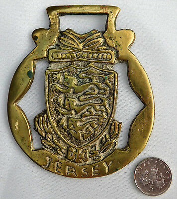 Jersey horse brass Channel Islands heraldic crest coat of arms ornament