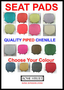 Luxury-Chenille-Piped-Edge-Quality-Seat-Chair-Cushions-Pads-Washable-Covers