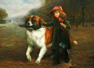 """Oil painting lovely little girl with her friend dog holding Umbrella canvas 36"""""""