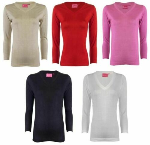 NEW LADIES JUMPER PLAIN LONG SLEEVED V NECK WOMENS SWEATER TOP 5 COLOUR S,M.L,XL