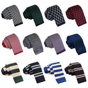DQT-Premium-Knit-Tricot-Solid-Plain-motif-carreaux-rayures-pois-Homme-Skinny-Cravate