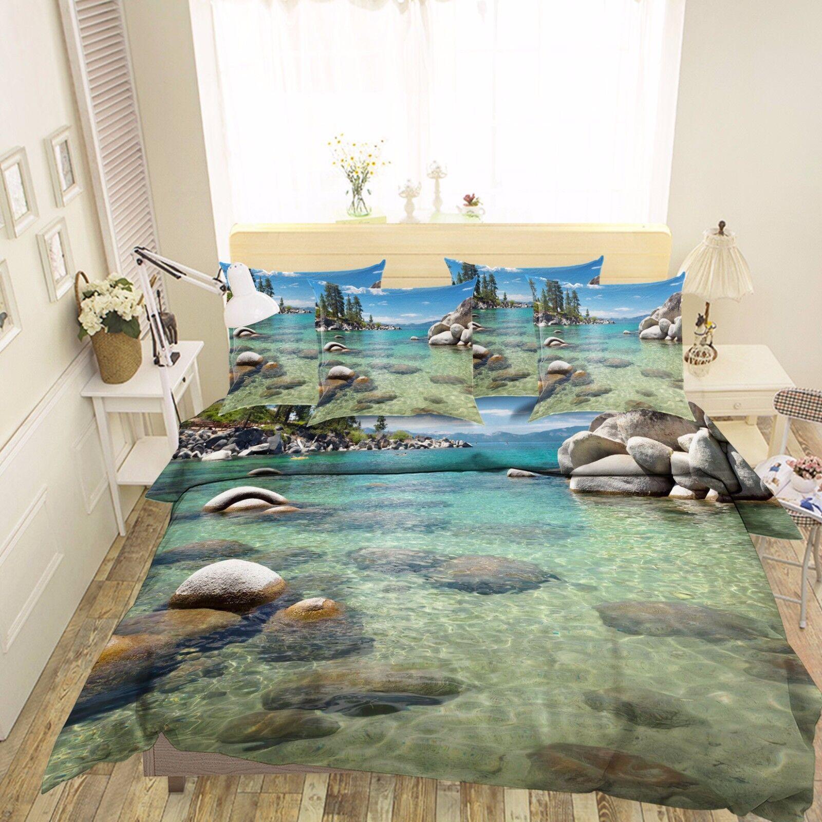 3D Coud Stones Sea 7 Bed Pillowcases Quilt Duvet Cover Set Single Queen AU Lemon