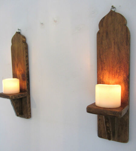 PAIR OF 40CM RECLAIMED WOOD MOROCCAN DOME WALL SCONCE LED CANDLE HOLDER