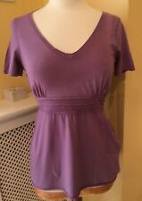 BNWT BODEN PURPLE STRETCH COTTON JERSEY EMPIRE LINE TOP - SIZE 12