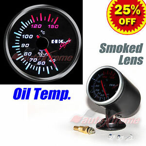 DRIFT-AUTO-Gauge-Meter-60mm-2-4-034-SMOKED-Lens-WHITE-LT-RED-Needle-OIL-TEMPERATURE