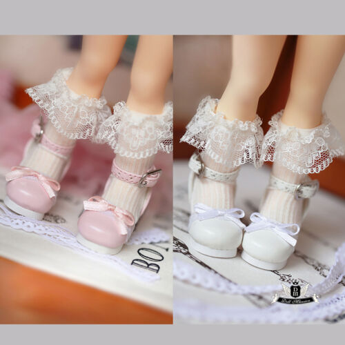 1//6 BJD Shoes Yosd Lolita bow lace Pink Shoes Dollfie Luts Dollmore AOD DIM DOD