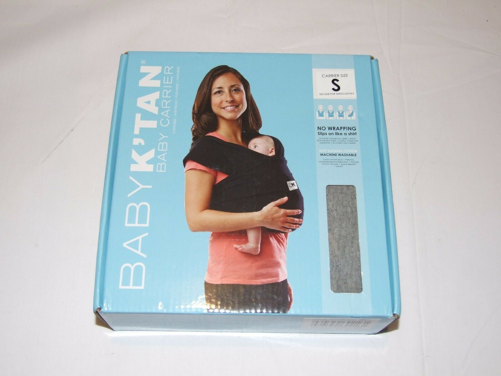 Heather Grey Small FAST POST Brand new Baby K/'Tan Cotton Baby Carrier