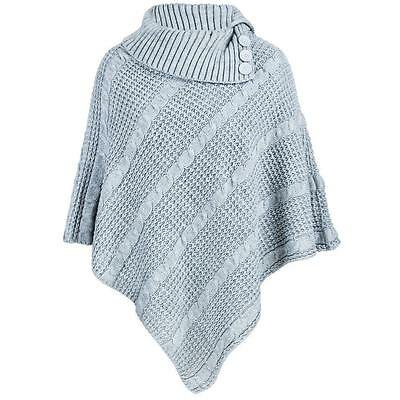 NEW LADIES WOMEN/'S CABLE KNITTED PONCHO 3 BUTTONS CARDIGANS JUMPER TOP SIZE 8-18