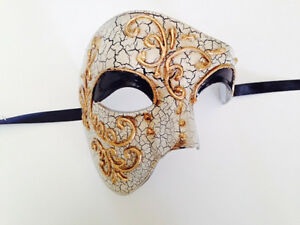 White Venetian Masquerade Costume Ball Party Phantom Opera Fancy Half Eye Mask