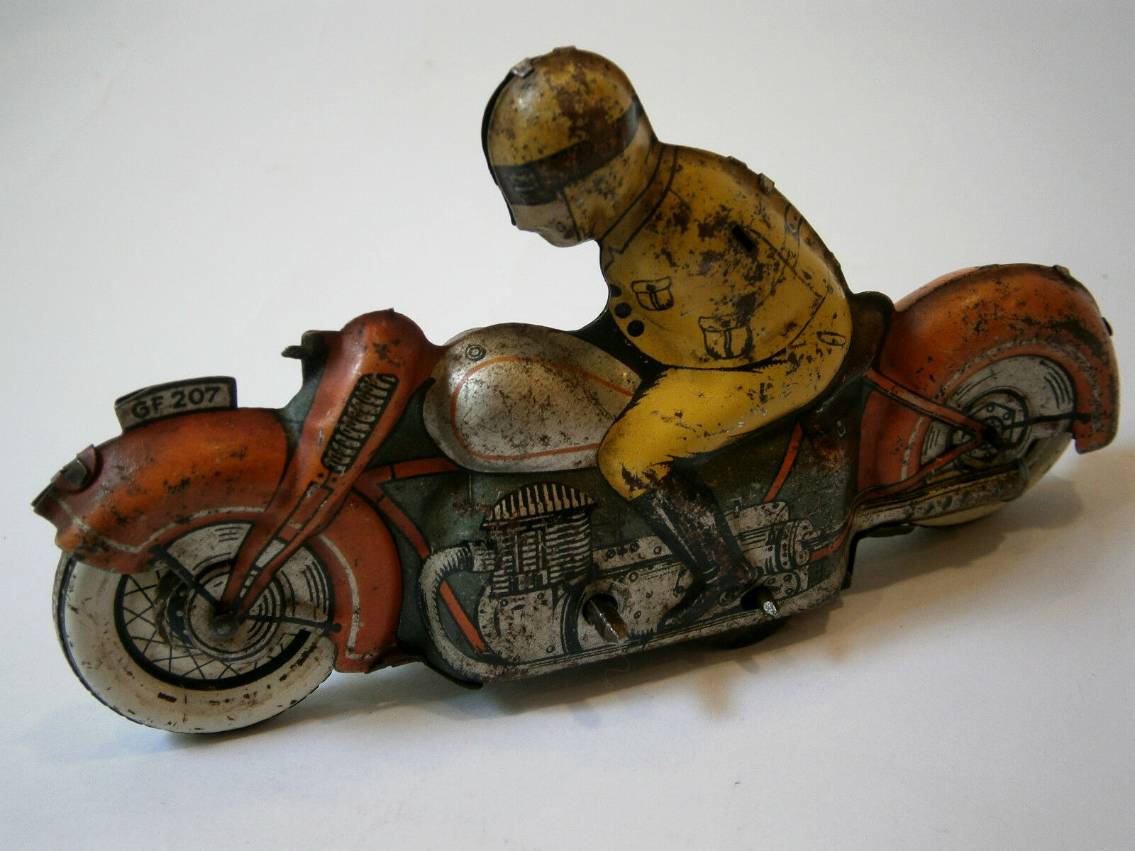 ANTIQUE RARE OLD GERMAN GF 207 FRICTION 525-16 TOY TIN MOTOR MOTORCYCLE 1930's