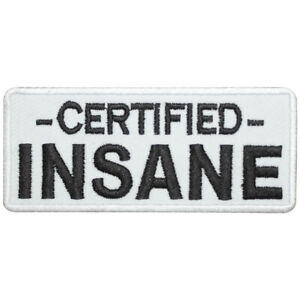 Certified Insane Logo Movie Patch Iron On Sew On Badge Embroidered Patch