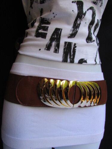 NEW WOMEN ELASTIC BROWN TRENDY CINCH FASHION POM BELT WING GOLD METAL BUCKLE S M