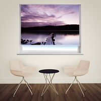 Purple Sunset Pier printed photo picture window roller blind made to measure