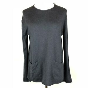 J-Jill-Pullover-Knit-Sweater-Charcoal-Grey-Long-Sleeve-Pockets-Cotton-Blend-Sz-S