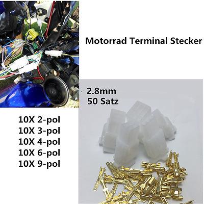 50X 2.8mm Auto Stecker Motorrad Steckverbinder 2 3 4 6 9 polig Kabel Anschlüsse