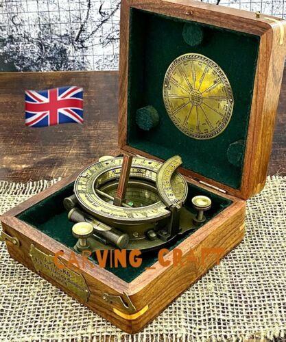 Portable Pocket Sundial Compass Nautical sundial compass with hardwood Box