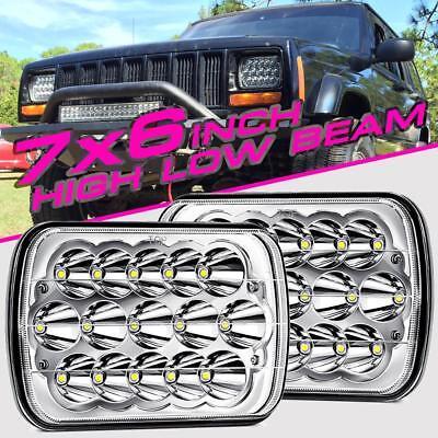 "2X 7X6/"" 5X7/"" 150W CREE LED Headlight Bulbs High Low Beam Crystal Clear Sealed H4"